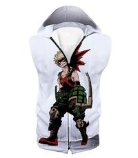 My Hero Academia White Katsuki Bakugo My Hero Academia Hooded Tank Top MHA013 $33.99