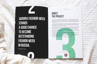 I know this is for a fashion week and using fabric in T&R background is appropriate, and useful to keep the left page open, but not sure that it works. Takes the eye away from the designed piece. - St. Petersburg Fashion Week Brochure `14 on Behance