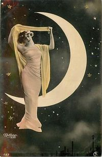 love this old picture of a lovely woman with the crescent moon and stars behind her....