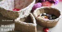 woven basket Material:  1. Thick Cardboard or paperboard, non-corrugated (around 1/6�€� thick). 2. Felt for bottom and base. 3. Weaving material, example: yarn, twine, fabric strips, ribbons etc�€�.