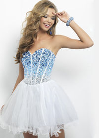 Cute Sweetheart Strapless Ombre Blue Bead Top Fashion Short Prom Dresses