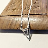 Triangle Necklace, Sterling Silver Geometric Triangle, Triangle Pendant $28.00