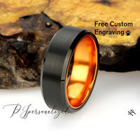 Mens Tungsten Ring, 8mm Black Men's Tungsten Wedding Band, Tungsten Black Promise Ring, Anodized Aluminum Sleeve Neon Green Orange Pink Red $85.00