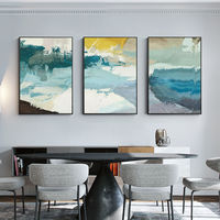 Set of 3 wall art framed painting Mustard yellow and green blue Abstract landscape paintings on canvas original set 3 pieces wall art $163.53
