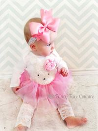 Easter Bunny Outfit Baby Girl Newborn Take Home Outfit Pink Rosette Pink Tutu Lace Tights Little girls Easter clothes baby girl newborn. $62.95, via Etsy.