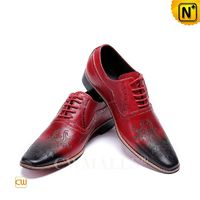 Men Leather Shoes | CWMALLS® Men Red Leather Oxfords CW708206[Personal Tailor, Patented Design]