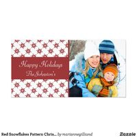 Red Snowflakes Pattern Christmas Card
