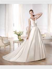 White Ball V-neck Satin 2014 Wedding Dress