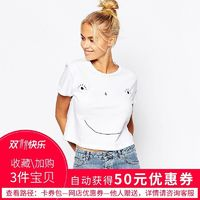 Must-have Vogue Printed Smiley Face Playful Cheerful Short Sleeves Crop Top T-shirt Top - Bonny YZOZO Boutique Store