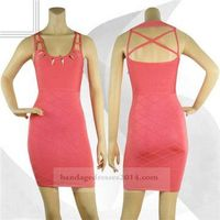Coral Studded Criss Cross Cheap Bandage Dresses