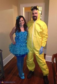 Jennifer: My husband and I love Breaking Bad so we decided to dress up like Walt and Blue Meth for Halloween this year, For his costume we bought a yellow hazma