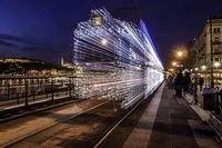 Long exposure of a train arriving
