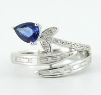 Estate Vintage 18K White Gold 1.37CT Ethically Mined Diamond Sapphire Bypass Ring $3868.00