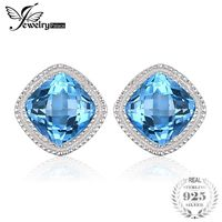 JewelryPalace Vintage 1.43ct Square Natural Blue Topaz Stud Earrings 100% 925 Sterling Silver Fashion Wedding Jewelry For Women $39.94