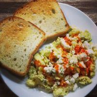 Eggs with Green Chiles and Feta Cheese Recipe (10 Minute Meal)