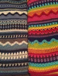 Sampler stitch blankets/scarves. Set number of stitch repeats, vary stitches and colors.
