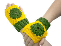 Yellow fingerless gloves as Christmas knit gift for women, warm boho mittens in Granny square style $32.00