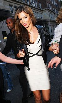 Cheryl Cole White V Neck Bodycon Bandage Dresses Cheap