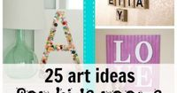 25 Ideas for Kids' Room Art -- combine a large engineer print with easy DIY letter tiles? I think yes.