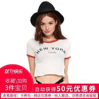 Sexy Printed Solid Color Slimming Alphabet Short Sleeves Crop Top T-shirt Top - Bonny YZOZO Boutique Store