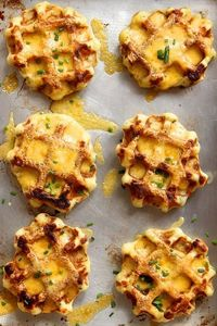Mashed Potato Waffles with Cheddar and Chives