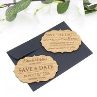 "Engraved Vintage Wooden ""Save The Date"" with Magnet