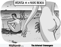 Medusa at the nude beach funny cartoon