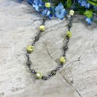 Clearance! Raw Turquoise Necklace in Gypsy Fashion, Yellow Stone Jewelry $36.00