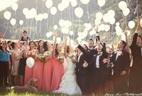 wedding balloons, glow sticks and wedding parties.