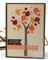This autumn inspired tree is made using the branch from the �€˜Take Care' stamp set and then the ink blotch from Gorgeous Grunge.