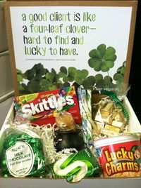 """Lucky St. Patrick's Day gift - A good client is like a four-leaf clover, hard to find and lucky to have!"""" Box includes: Skittles, See's Shamrock chocolates, Lucky Charms, green gum, gold nuggets, stripped candy sticks, and gold coins in a cau..."""
