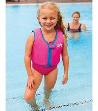Zoggs Pink Swim Jacket - 2-3 Years Give your kids greater water confidence in the pool with this pink swim jacket from Zoggs. This buoyancy aid will assist as they learn to swim in safety and gives them complete freedom of movement. Fo http://www.compares...