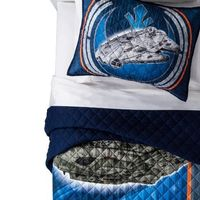 Featuring the Millennium Falcon, Chewbacca, BB8, and R2D2 this quilt and sham is perfect for your Star Wars fan!<br>This quilt fits both a twin size and full size bed. High Quality super soft polyester gives you a great look while remaining comfy!