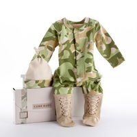 Whether he just plays with toy soldiers or he's going to love a good hunt with his Dad, dress your Little Trooper in this preciously comfortable Camo Baby sleeper from Baby Aspen. He'll be suited up from head to toe with clever faux boots keep...