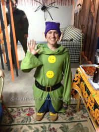 This is how I made my homemade Dopey the Dwarf costume from Snow White: Shirt: Took my green Snuggie®, flipped it backwards and sewed the front to make Dop