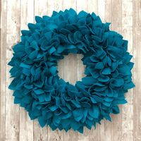 """Aqua / Teal Felt Wreath (20""""-21"""") - Great for Indoor or Outdoor (covered) Use. $64.99"""