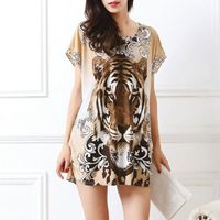 New summer spring 2017 Fashion Women short sleeve Dresses Plus Size Dress Loose Print tunic casual tops L-5XL tiger leopar 1 $8.09