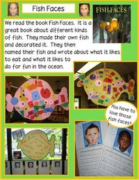 Fish Faces- I am SO getting the girls to do this when we talk about Fish in Kindergarten! I love it:)