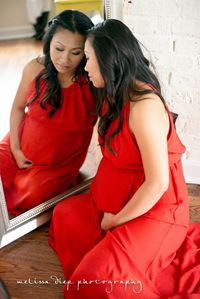 #maternity session #red dress #mirror #reflection #natural light