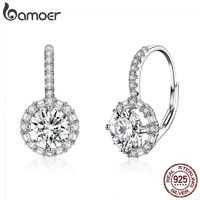 BAMOER Authentic 925 Sterling Silver Dazzling Cubic Zircon Round Zircon Drop Earrings for Women Wedding Silver Jewelry SCE508 $28.00