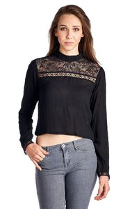 Women's Black Panel Long Sleeve Crop Top $17.57
