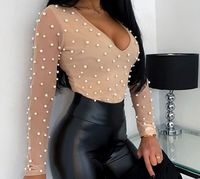 Elegant Sexy See Through Beading Mesh Women Blouse Shirt,NEW,on Sale!