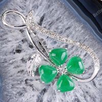 Green Jade Rhinestone Flower Brooch Pin Heart Beads