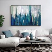 Abstract Painting on canvas original art blue paintings heavy texture home decor hand painted cuadros abstractos wall pictures palette knife $109.00