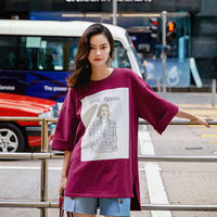 PURPLE STITCHING ROUND NECK LONG T-SHIRT WOMEN'S CROPPED SLEEVE TOP SG186091
