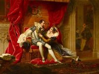 Robert Dudley, Earl of Leicester's Visit to His Wife, Amy Robsart at Cumnor Place (from Sir Walter Scott's 'Kenilworth', 1821) by Henri Jean-Baptiste Victoire Fradelle