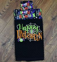 Embroidered Kitchen Towel - Happy Halloween with Topper $6.99