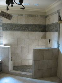 Bathroom Shower Tile idea- top and middle borders