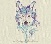 Embroidery spirit of the wolf, machine embroidery design, design wolf, embroidery design, wolf pattern, embroidery wolf, wolf head design $5.25