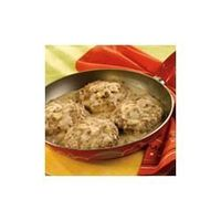 cream of mushrooms, mushroom soup and salisbury steaks.